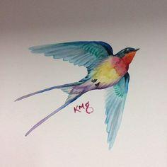 watercolor swallow tattoo - Google Search