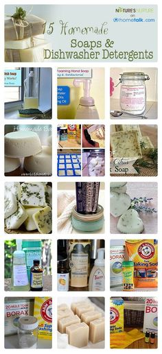 DIY:: 15  Of The Most Amazing Homemade Soaps and Dishwasher Detergents !! Each With Own Tutorial!
