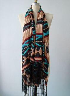 Turquoise Native American Print Giant Fringed Shawl by VACATIONSF