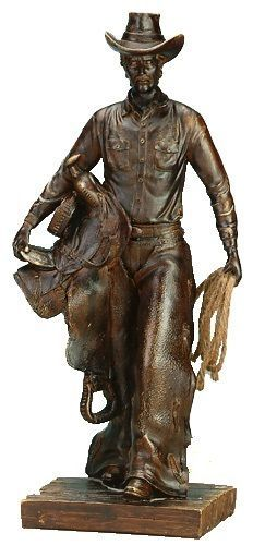 Western Cowboy Sculpture with Lasso & Saddle Resin Sculpture, Bath Decor, Room Decor, Western Cowboy, Westerns, Bronze, Statue, Decor Ideas, Country