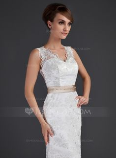 A-Line/Princess V-neck Court Train Charmeuse Lace Wedding Dress With Sash Beading Bow(s) (002000171)