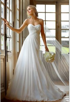 Cheap Price ! 2014 New Free Shipping A Line With Train Sweetheart Chiffon White / Ivory Wedding Dresses OW2135 US $49.00