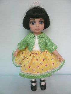 OOAK Sunny Flowers and Green Polka Dots Tonners Patsy by Apple