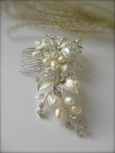 English Garden Floral Hair Comb - Bridal Hair Accessories, Bridal Hair Comb, Wedding Comb- Wedding Hair Barrette - Rhinestone Hair Comb. $67.00, via Etsy.