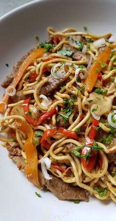 Chinese beef and vegetable noodles - Soupe - Asian Recipes Meat Recipes, Asian Recipes, Cooking Recipes, Noodle Recipes, Ethnic Recipes, Chicken Recipes, Vegetable Noodles, Ramen Noodles, Dinner With Ground Beef