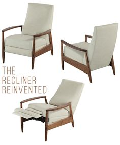 Reinventing the Recliner - Design Crush Green Furniture, Furniture Styles, Accent Chairs For Living Room, Home Living Room, Modern Recliner Chairs, Modern Armchair, Small Recliners, Multifunctional Furniture, Buy Chair