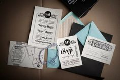 modern black and white invitations