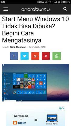 Cara mengatasi start menu Windows 10 error. Baca selengkapnya di androbuntu.com