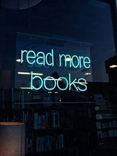 Quote in neon lights: Read more books Books And Tea, I Love Books, My Books, Blue Books, Reading Books, Neon Quotes, Quotes Quotes, Life Quotes, Neon Aesthetic