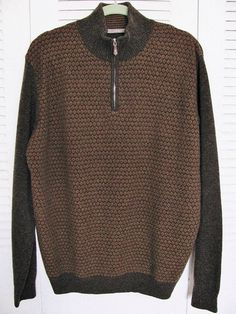 FIUME BROWN WOOL BLEND  SWEATER Sz 52  US L #Fiume #12Zip