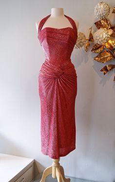 The fantastic late 40's raspberry lurex bombshell halter dress by Emma Domb!