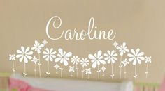 Baby girl Names decorations | Daisy Flower Girl Name Wall Decal Baby Nursery Decor. $25.00, via Etsy ...