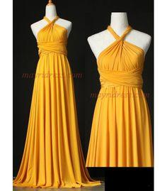 Full Length Infinity Dress Wrap Convertible Dress Evening Bridesmaid Maxi Dress Yellow Gold