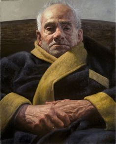 """""""The Man I Loved"""" (Portrait of My Grandfather) - Albert Ramos Cortes; Raymarart Painting Competition Finalist 2012 {figurative art elderly male seated robed male face portrait painting} albertramos.com"""