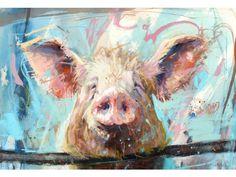 ♞ Artful Animals ♞  bird, dog, cat, fish, bunny and animal paintings - Pig - James Bartholomew