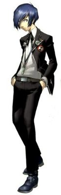 """The male main character from P3, he is a quiet emo kid who is sucked into leading SEES because of his great """"potential"""". Initially a bit apathetic himself, he gains strength from his friends to defeat Apathy Syndrome, the evil trio known as Strega, and even Death itself."""