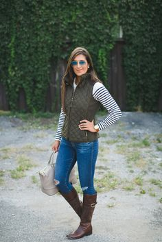 quilted vest, stripe tee, ag distressed skinny jeans, johnston and murphy cognac riding boots, acrylic monogram necklace, blonde marble monogram necklace, fall style, stripe fall outfit, fall fashion, southern fashion blogger // grace wainwright a southern drawl