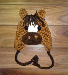 """**This listing is for a pattern only, NOT a finished product** This pattern includes individually written instructions for you to make the Horse Hat in six sizes (age/hat circumference): 3-6 months – 15""""  6-12 months – 16.5  Toddler – 18  Child (3-6) - 19  Child (7-12) – 20  Teen/Adult - 21.5    All my patterns are written in American crochet terminology.    Skill Level: Easy You will require worsted weight (medium/4/aran) yarn and crochet hooks 5.5mm (US I), and 5mm (US H..."""