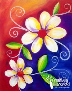Painting for kids, painting & drawing, learn to paint, flower canvas, f Spring Painting, Painting For Kids, Painting & Drawing, Wine And Canvas, Paint And Sip, Learn To Paint, Whimsical Art, Pictures To Paint, Acrylic Art