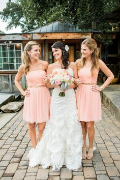 Pretty Peach Rustic North Carolina Wedding Peach Bridesmaids Dresses http://meettheburks.com/