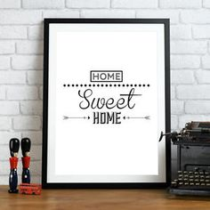 #96 A4 High Qualiy Art Print Home Sweet Home Graphic Typography poster  | eBay