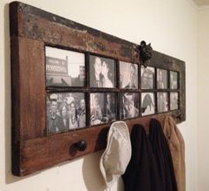 Turn an old door into a fantastic Photo Frame and Coat Hanger and put all those family memories on display! Check out all the versions and the Window Coffee Table Upcycle too!