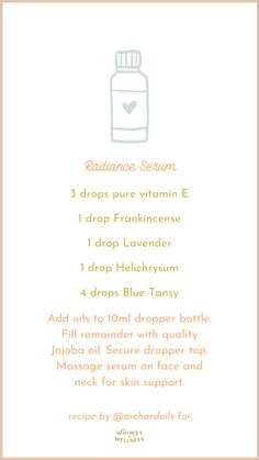 radiance serum dropper bottle blend with essential oils and fairytale collection whimsy + wellness Yl Essential Oils, Essential Oil Bottles, Essential Oil Diffuser Blends, Young Living Essential Oils, Roller Bottle Recipes, Esential Oils, Young Living Oils, Holistic Wellness, Oil Uses