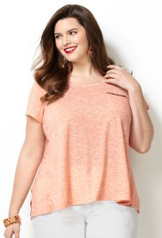 Salmon Print Pleat Back Tee-Plus Size Tee-Avenue