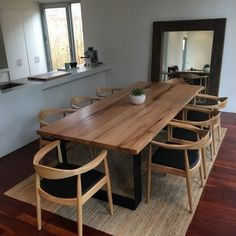 King Dining Table Timber Top With Uniquely Rounded Steel Loop Legs