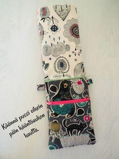 DIY: Pussukka tuplavetoketjulla - Punatukka ja kaksi karhua Diy Bags Purses, Ipad Case, Handicraft, Sewing Patterns, Weaving, Diy Crafts, Tote Bag, Wallet, Pouches
