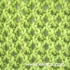 Knitting Stitches - Lovely lace stitch that's really easy to do. Different on each side, but equally beautiful for shawls and scarves. Right side of knitting stitch pattern is shown. From www.knitca.com