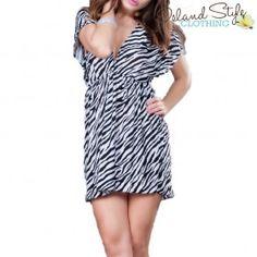 Ladies Kaftan Black & White Zebra Stripe #kaftan #resortwear #ladieskaftan #beachwear #bikinicover #cruisewear  http://islandstyleclothing.com.au/resortwear/kaftans