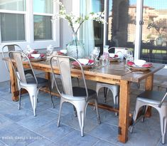 diy outdoor farmhouse table, plans by Ana White Outdoor Farmhouse Table, Farmhouse Table With Bench, Diy Outdoor Table, Woodworking Table Plans, Cool Woodworking Projects, Diy Projects, Diy Furniture Building, Wood Furniture, Outdoor Furniture
