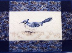 """""""Blue Jay"""" - Hand-painted art quilt (c)Pat Dolan SOLD"""