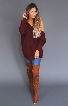 Maroon Knit V Back Sweater - Dottie Couture Boutique