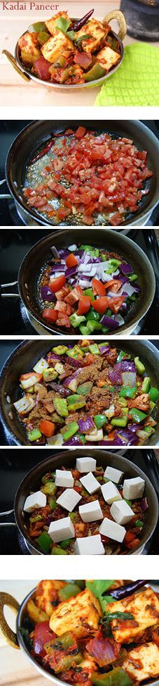 Kadai Paneer is an extremely flavorful North Indian side made using fresh Indian Cottage cheese (Paneer), Bell peppers and freshly ground spices. A perfect side for any Indian flatbread like Naan or rice like jeera rice / pulao. Paneer Recipes, Veg Recipes, Side Recipes, Indian Food Recipes, Vegetarian Recipes, Cooking Recipes, Paneer Dishes, Veg Dishes, Comida India