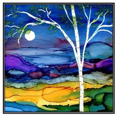 This listing is a decoupage print of an alcohol ink painting on ceramic tile. The alcohol Ink painting is of a beautiful birch tree landscape.