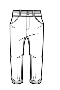 Trousers & all-in-ones Fashion Design Template, Fashion Templates, Pattern Fashion, Flat Drawings, Flat Sketches, Technical Drawings, Fashion Vector, Sewing Kids Clothes, Fashion Figures
