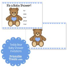 Blue Printable Teddy Bear Baby Shower Invitations