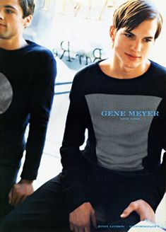 Ashton Kutcher wearing Gene Meyer by Stewart Shining Man Fashion, Fashion Looks, Ashton Kutcher, That 70s Show, Stylish Outfits, Dramas, Actors, Queen, American