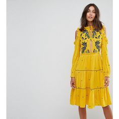"""""Tall dress by Frock and Frill Tall, Lined woven fabric, Floral embroidery, Round neck with tied detail, Ruffle trims, Cold-shoulder cut, Regular fit. true t…"