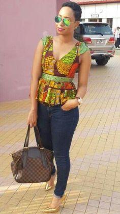 African peplum top by Elikem Kumordzi the tailor. African Men Fashion, Africa Fashion, African Wear, African Dress, African Outfits, Ankara Fashion, African Fabric, African Prints, Love Fashion