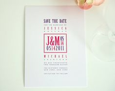 Comtemporary Save the Date Card Modern Design in Pink and Purple for a Funky Hip Chic Wedding Reception - Squared Monogram Sample
