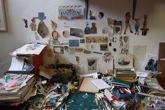 """ Artist Nick White's desk """