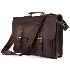 "Vintage Handmade Antique Crazy Horse Leather Briefcase / Messenger / 14"" 15"" Laptop 13"" 15"" MacBook Bag"