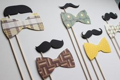 "Preppy ""Downtown Collection"" photo booth props on a stick for a dapper night on town; mustaches and bow ties / Little Retreats"