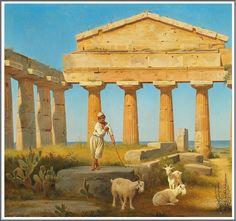 Constantin Hansen (1804–1880), Le Temple de Cérès à Paestum - 1841