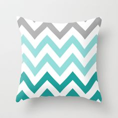 TEAL FADE CHEVRON Throw Pillow by N A T A L I E  - $20.00 Good way to get in the chevron without long term commital