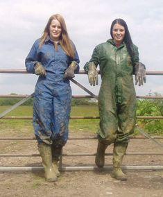 Work Coveralls, Mudding Girls, Wellies Rain Boots, Rubber Raincoats, Rubber Gloves, Rain Gear, Work Wear, Female, How To Wear