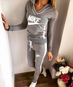 Nike New Tracksuit Gray via outlet centrale. Click on the image to see more!